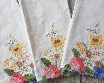 Vintage embroidered Handkerchiefs, napkins x3, reusable, no waste tissue alternative