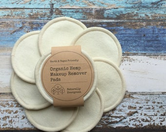 Organic Hemp Makeup Remover Rounds, Face Wipes, Organic Face Pads, Zero Waste
