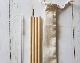 Bamboo straw and straw cleaning brush set, cotton travel bag. 4 reusable straws