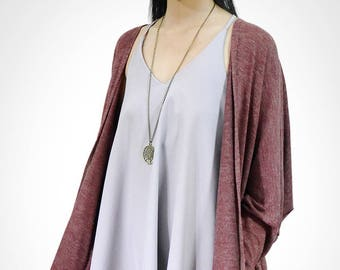 CozyCony Women Cardigan ( C005 ) fit for Women US size XS, S, M, L, XL : Bat Sleeve Cardigan / Long Cardigan / Oversized Cardigan / Cardinal