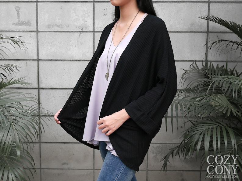 L CK016 XL : Bat Sleeve Cardigan  Black Cardigan  Free Shipping M CozyCony Women Cardigan S One Size for Women US size XS