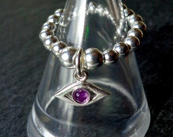 Amethyst Evil Eye Wiccan Pagan stretch and stack 925 Sterling Silver Ring