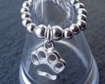Pawprint stretch and stack 925 Sterling Silver Ring