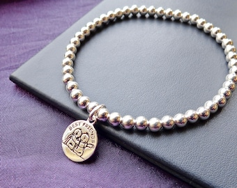 Sterling Silver Best Friend Beaded Stretch Bracelet, Stackable, BFF Friendship