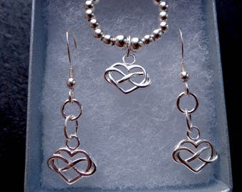 Infinity Heart Earring set with stretch and stack 925 Sterling Silver Ring