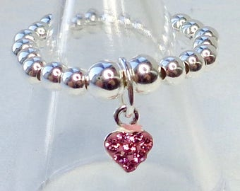 Pink or Clear Crystal Heart stretch and stack 925 Sterling Silver Ring