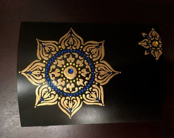 Upcycled Altered Cigar Box Black Divided Hand Painted Jeweled Trinket Box
