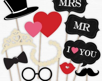 Mr. and Mrs. Photo Booth Props
