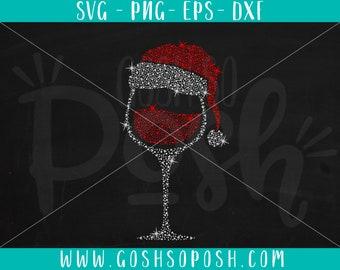 96dc77505d131 Christmas Santa Hat Wine Glass - Xmas File - SVG - EPS - PNG - Dfx File -  Cricut   Silhouette Cut Files - Instant Digital Download