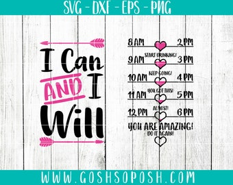 Water Bottle Hydration Drink Reminder I Can and I Will SVG Cricut Cut Files png Silhouette DXF Corel EPS Digital Download Pink