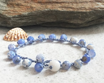 Blue gemstone bracelet Agate bracelet Single wrap bracelet gift Boho crocheted jewelry Beach bracelet Something blue Aqua bracelet for woman