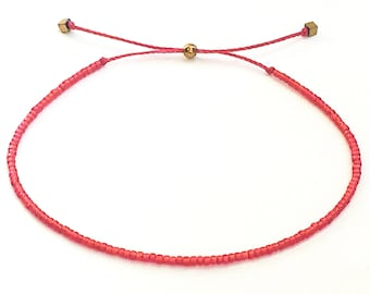 Red beaded bracelet Lucky string bracelet for woman Women's kabbalah bracelet Dainty friendship bracelet Gift for sister Teen gift idea