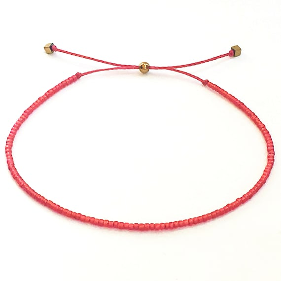 Beaded Red Bracelet Dainty Red Bracelet Red String of Fate Thin Red Bracelet Spiritual Gift Kabbalah Bracelet Red String Bracelet