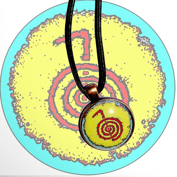 Hand Made Pendant Necklace Cho Ku Rei Reiki Symbol Yellow Etsy
