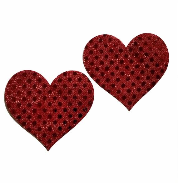 Pasties Sheer Swim Red Embellished Heart Glitter