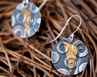 Silver and Gold Keum Boo Flag Encircled Earrings