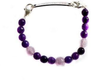 Blue crystal quartz interchangeable medical ID bracelet women medical alert ID bracelet replacement gemstone detachable bracelet