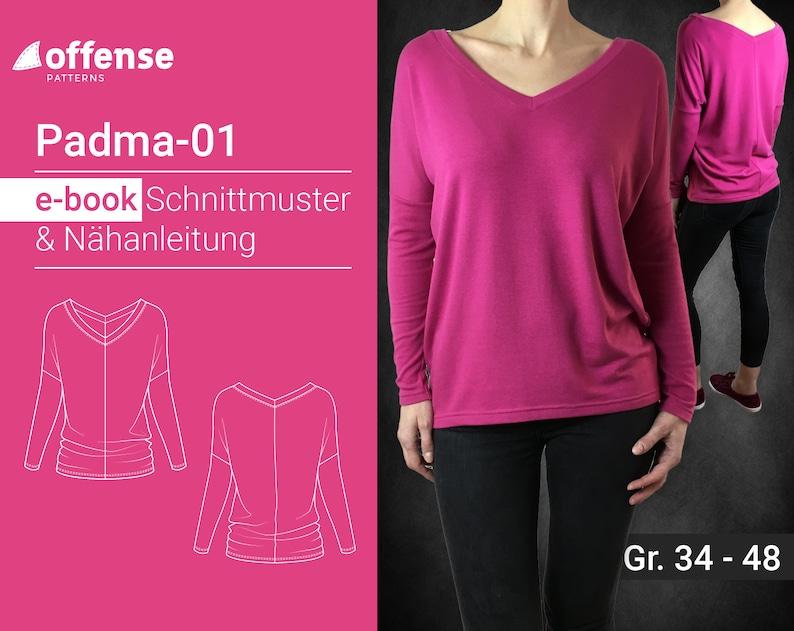 N\u00e4hanleitung Damen Pullover Padma-01 in Gr\u00f6\u00dfen 34-48 als Ebook zum selber n\u00e4hen inkl Schnittmuster