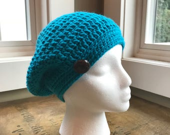 Crochet Women's Slouch Beanie with Button
