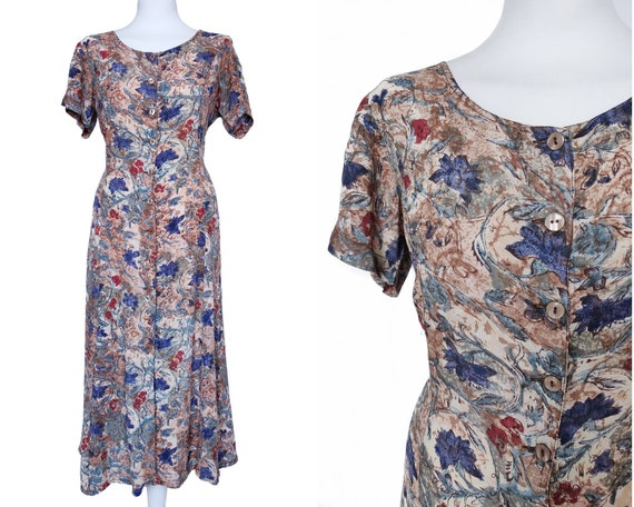80s does 40s Floral Beige Blue Dress Summer 40s St