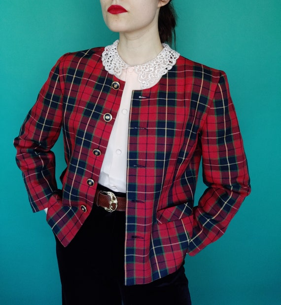 Vintage Red Green Blue Plaid Blazer Checkered Over