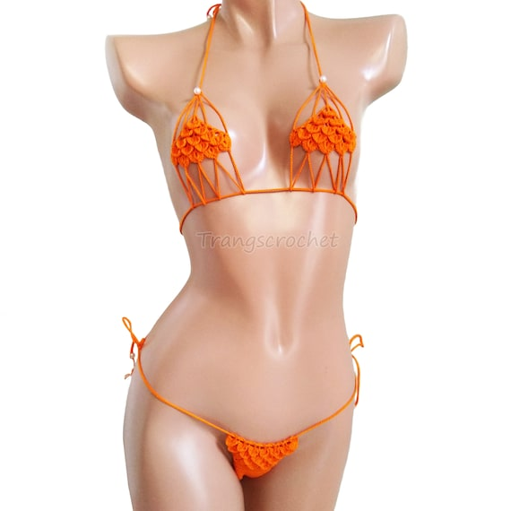 Extreme micro bikini Crochet black bikini.