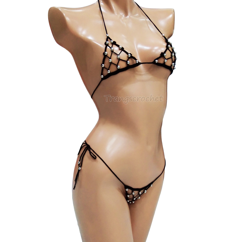 8bde1d7fe42bc Crochet Extreme Micro G-String Bikini, sheer thong, see through bikini -  Trangscrochet