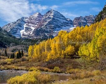 Maroon Bells,Colorado,Travelers,Photo,Rocky Mountains,Fall Colors,aspen,snow,Nature Photography,Landscape,Wall Decor,Print,Canvas,Metal Art