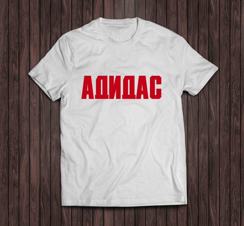 e08eb81e Gosha Rubchinskiy Adidas white shirt red text sport Russian | Etsy