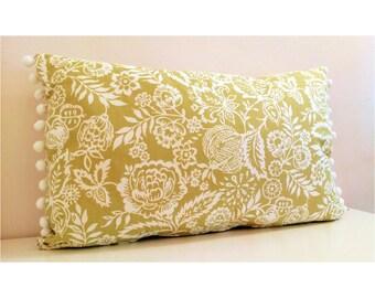 Handmade Cushion Cover with Pom Pom Trim