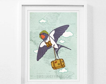 Barn Swallow Traveler - Bird Traveler - Bird Art Print - By BirdsandFriends
