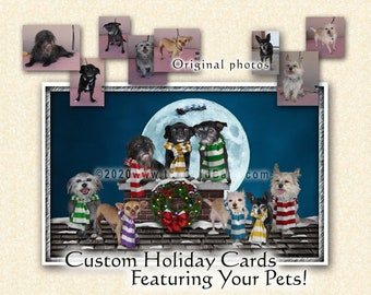 """Custom Pet Holiday Card - """"Up on the Rooftop"""" - One pack of 20 Cards/Envelopes with your choice of inscription"""