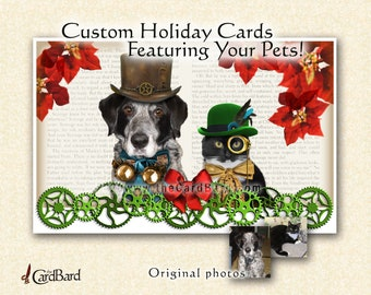 """Custom Pet Holiday Card - Steampunk Pets"""" - One pack of 20 Cards/Envelopes with your choice of inscription"""