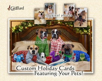 """Custom Pet Holiday Cards - """"Bedtime Stories"""" - One pack of 20 Cards/Envelopes with your choice of inscription"""