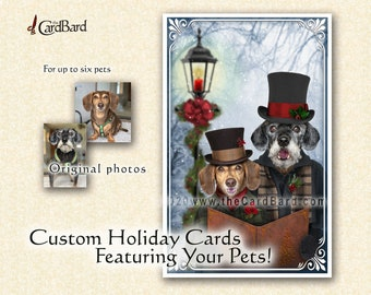 """Custom Pet Christmas Card - """"A-Caroling"""" - One pack of 20 Cards/Envelopes with your choice of inscription"""