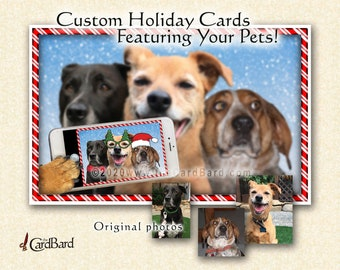 """Custom Pet Holiday Card - """"Sidekick Selfies"""" -  One pack of 20 Cards/Envelopes with your choice of inscription"""