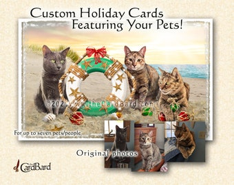 """Custom Pet Holiday Card - """"Seaside Holiday"""" - One pack of 20 Cards/Envelopes with your choice of inscription"""