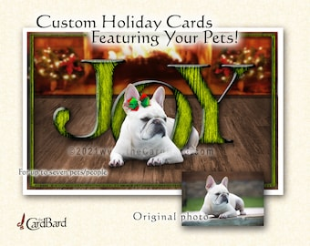"""Custom Pet Holiday Card - """"Joy to the World"""" - One pack of 20 Cards/Envelopes with your choice of inscription"""