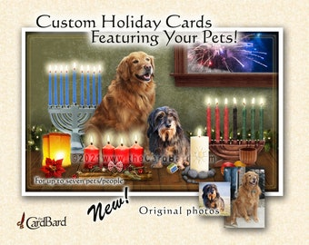 """Custom Pet Holiday Card - """"Happy Holidays"""" - One pack of 20 Cards/Envelopes with your choice of inscription"""