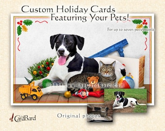 """Custom Pet Christmas Card - """"Shelve the Elves"""" - One pack of 20 Cards/Envelopes with your choice of inscription"""