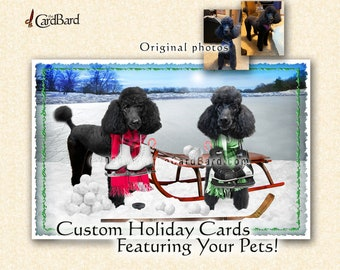 """Custom Pet Holiday Card - """"Winter Fun"""" -  One pack of 20 Cards/Envelopes with your choice of inscription"""