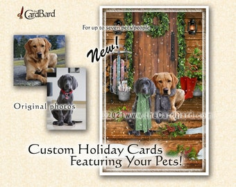"""Custom Pet Christmas Card - """"Home for the Holidays"""" - One pack of 20 Cards/Envelopes with your choice of inscription"""