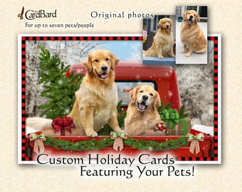 """Custom Pet Christmas Card - """"Christmas Country"""" - One pack of 20 Cards/Envelopes with your choice of inscription"""