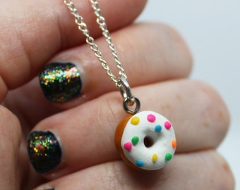 Donut Polymer Handmade Clay charm on Silver Plated Necklace Chain