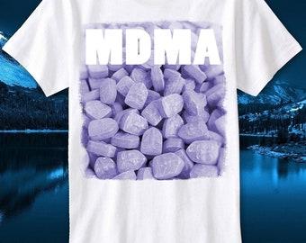 cdcfd3258521ff T-Shirt Mdma Pills Techno Rave Hardstyle Q Dance Defqon 1 Lsd Albert Xtc  Hofmann Trippy