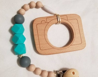 Wood Camera and silicone teether