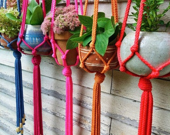 SIESTA style // 36 colors // custom macrame plant hanger + beads // small to large handmade hanging rope plant holder // fun home decor gift