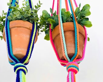 MULTI style // 36 colors // custom macrame plant hanger // small to large handmade hanging rope plant holder // unique fun home decor gift