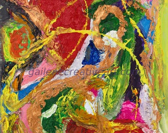 "Acrylic on Canvas Abstract Collage ""The Colours of my Heart"" GJ-3 original"