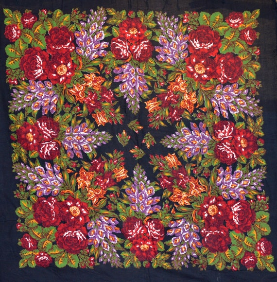 VINTAGE shawl Pavlovo Posad shawl Russian shawl Vi